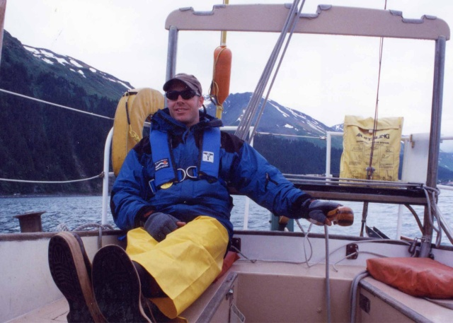 Captain Hans at the helm.