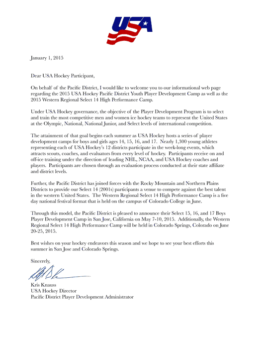 Youth select camp pacific district 2015 usah welcome letter stopboris Images